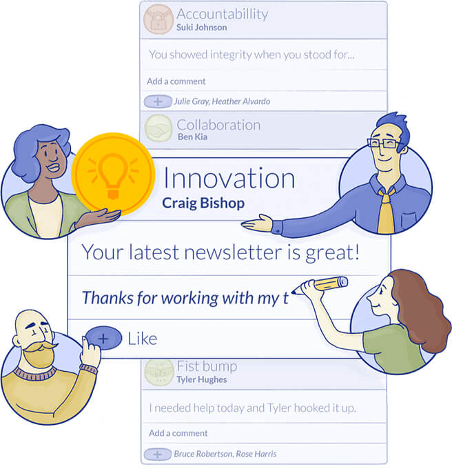 An illustration of the benefits of our employee recognition apps.