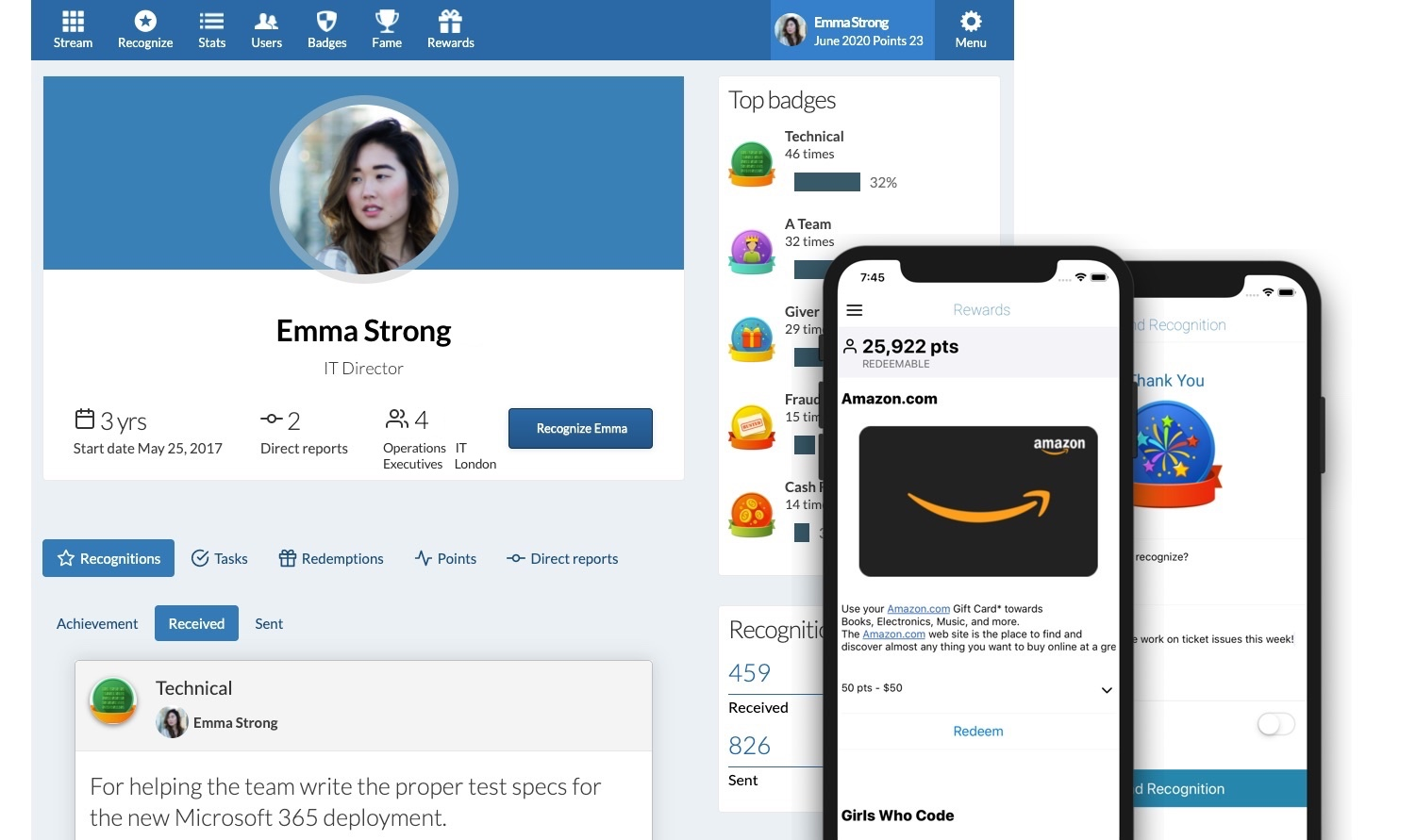 The employee recognition software, Recognize, screenshot showing an employees user profile with top recognitions, top badges, and direct report information. The mobile app screenshots show sending a recognition for just Thanks or redeeming an Amazon gift card.